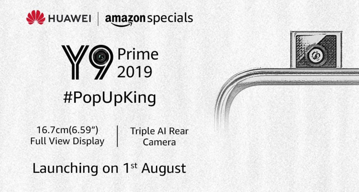 Huawei Y9 Prime 2019 India Launch am 1. August, gelistet am Amazon: Technische Daten, Funktionen und erwartete Preise