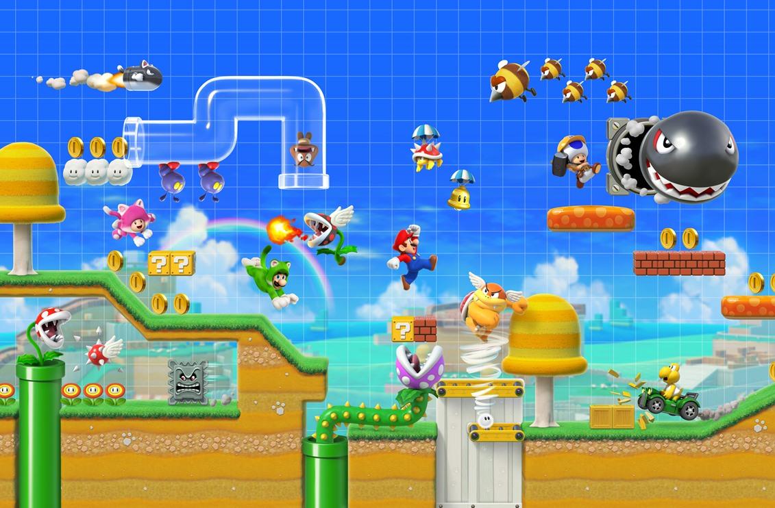 """Super Mario Maker Level mit verschiedenen Charakteren, die von klaren Rohren und Plattformen auf den Bildschirm springen """"width ="""" 300 """"height ="""" 200 """""""