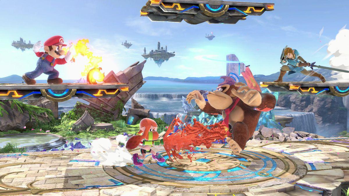 Super Smash Bros. Ultimate - Kampf zwischen Mario, Inkling Girl, Donkey Kong und Link