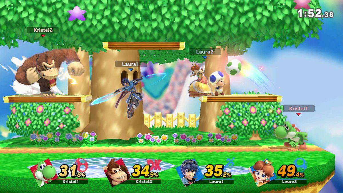 Super Smash Bros. Ultimate - Kampf zwischen Donkey Kong, Marth, Daisy und Yoshi