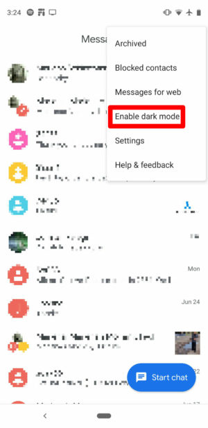 Dunkles Thema in Google Messages 2