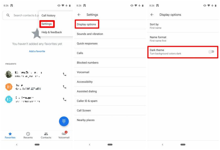 Dunkles Thema für Google Phone