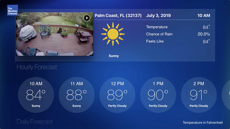 Der Wetterkanal auf Apple Fernseher