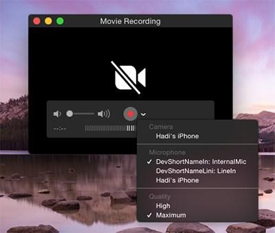 QuickTime iOS-Bildschirmschreiber