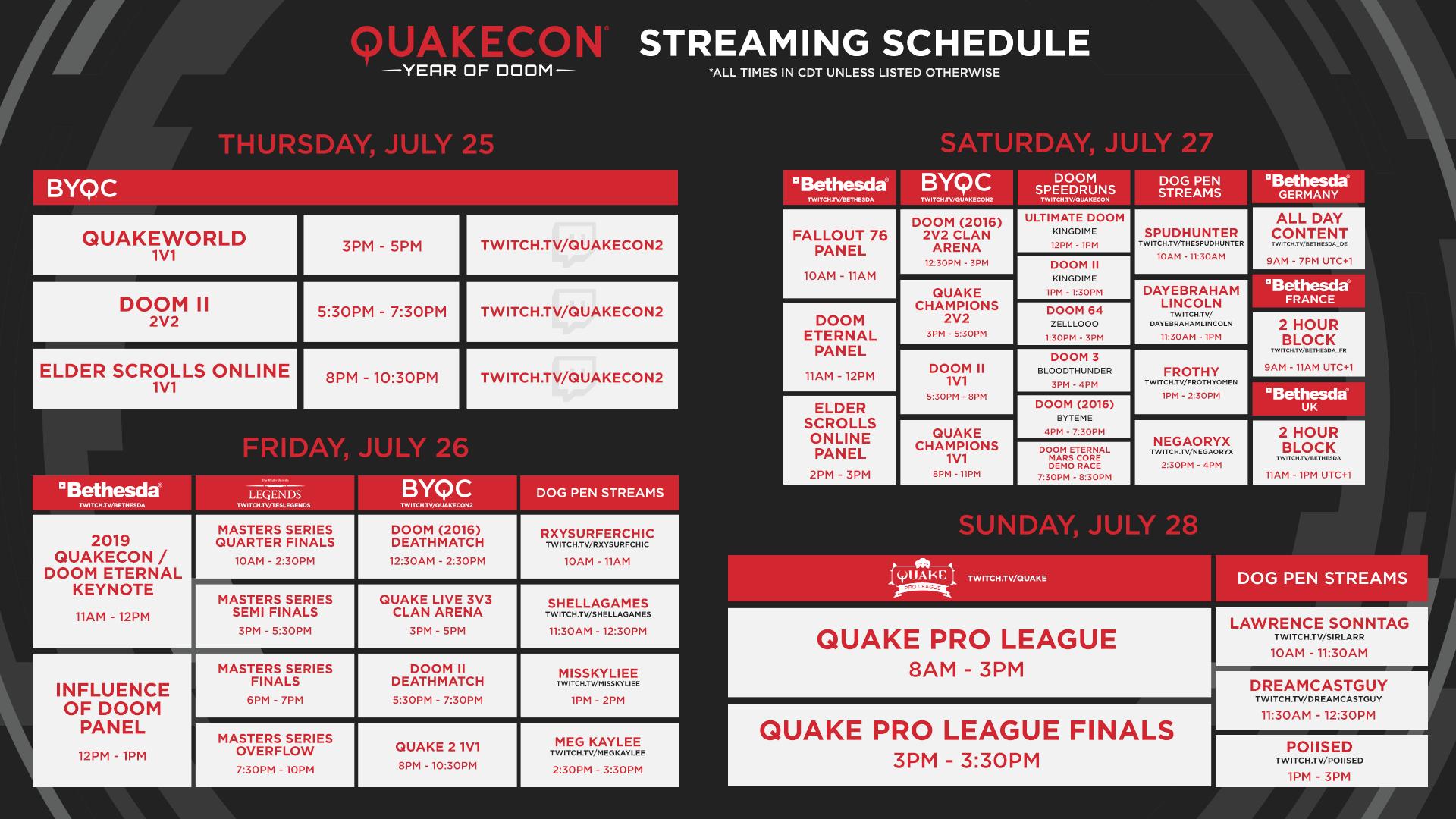 QuakeCon 2019 Streaming-Zeitplan
