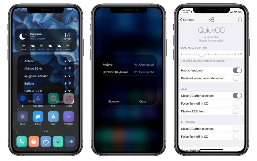 QuickCC Tweak bringt iOS 13-ähnliche Wi-Fi- und Bluetooth-Menüs auf iOS 12 1