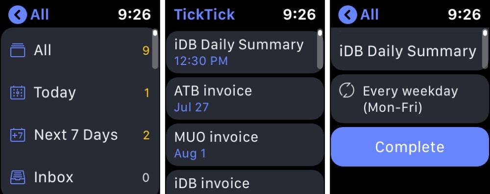 TickTick Apple Watch Aufgabenliste