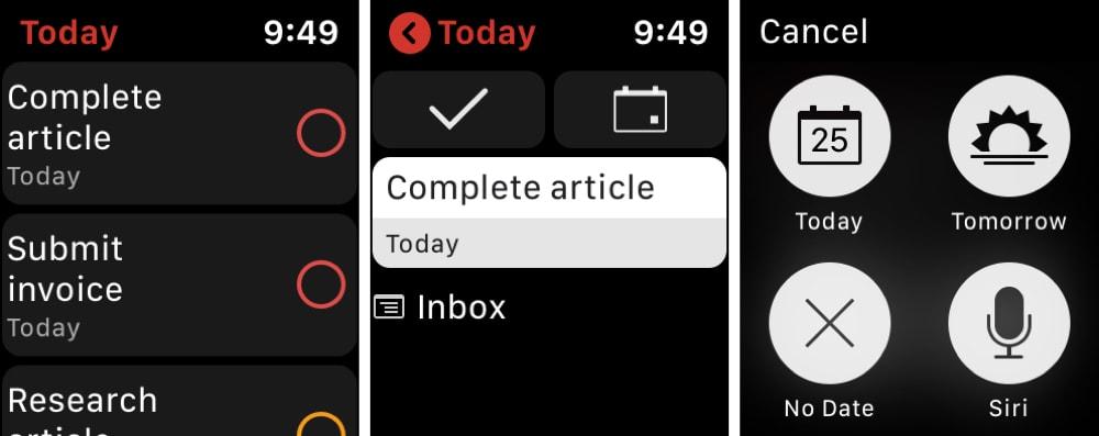 Todoist Apple Watch Aufgabenliste