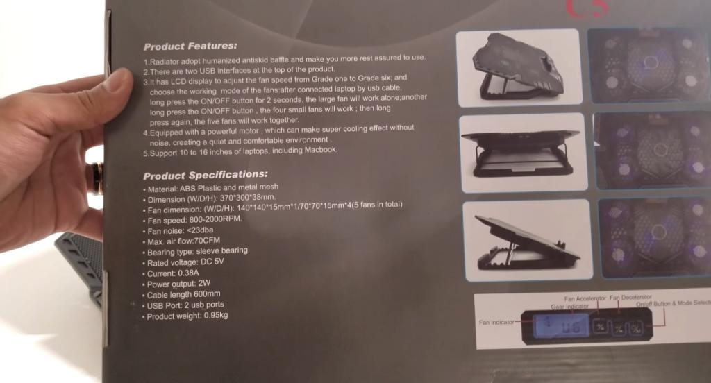 TopMate C7 Gaming Laptop Cooling Pad geöffneter Karton