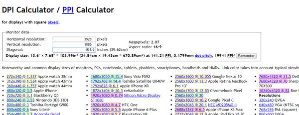 Bildschirmgröße über eine Online-Bewerbung