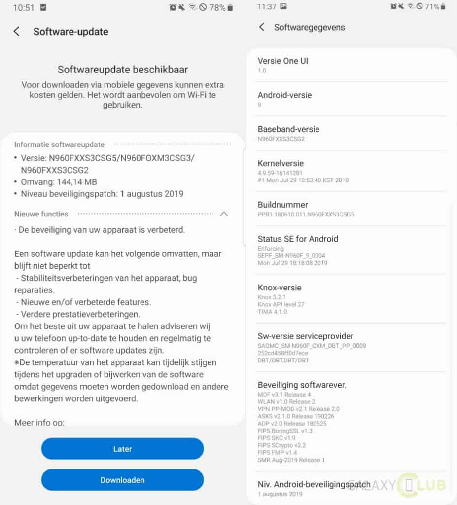 Samsung Galaxy Note 9 Update August 2019 Changelog n960fxxs3csg5