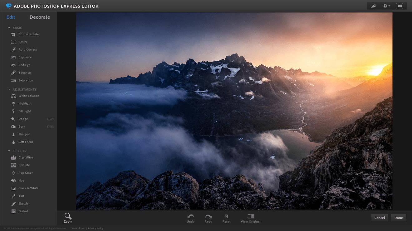 Adobe Photoshop Express gehört zu den besten Bildbearbeitungsprogrammen
