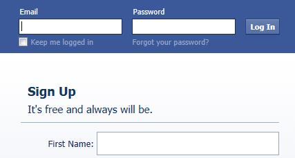 Melden Sie sich an für Facebook