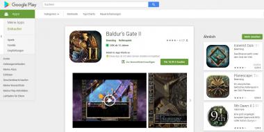 Spiele wie Baldur's Gate 2 kosten auch als Android-Version Geld, lassen sich aber mit wenig Aufwand auch als raubkopierte APK und dann eben gratis im Netz finden.   (c) Areamobile