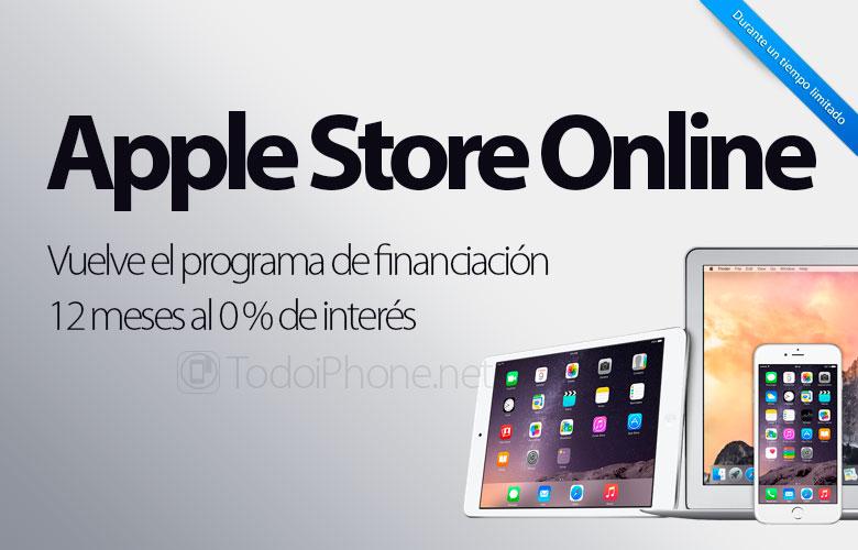 Das Finanzierungsprogramm kehrt auf 0% in den USA zurück Apple Speichern 1