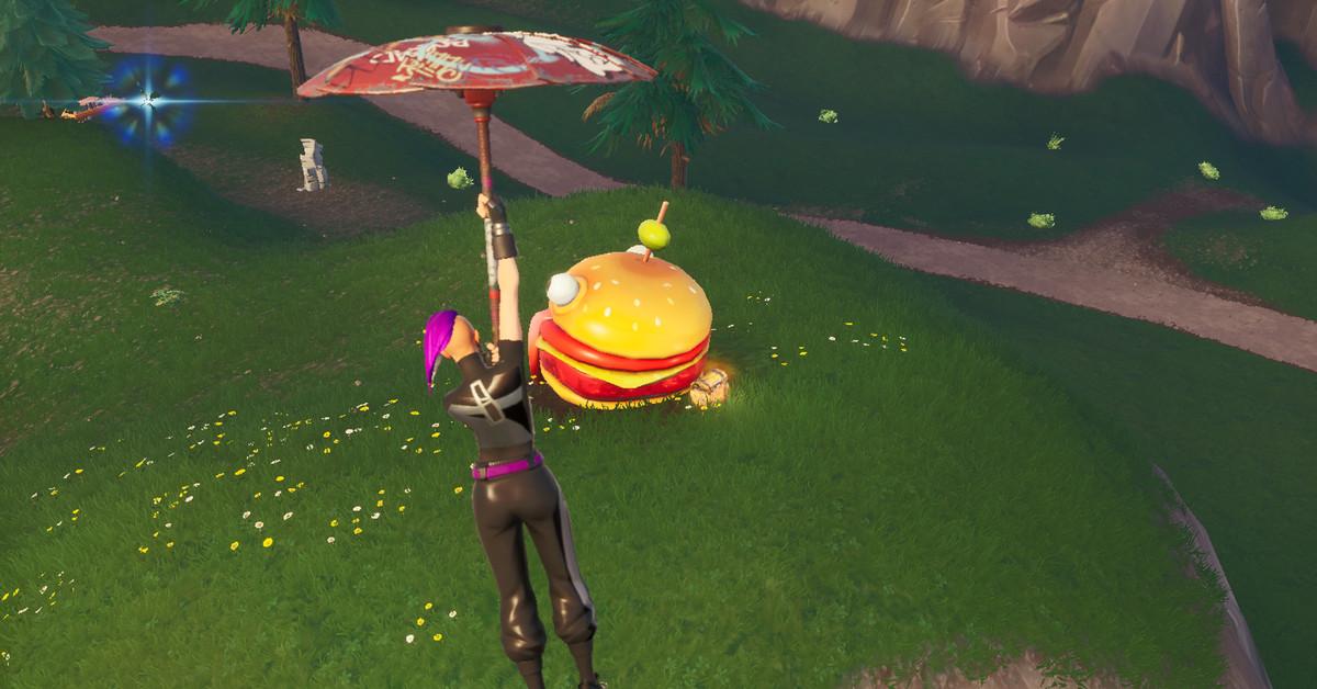 Fortnite    Boyalı Durrr Burger heykəlinin, dinozavrların və daş başının bələdçisi və xəritəsi 1