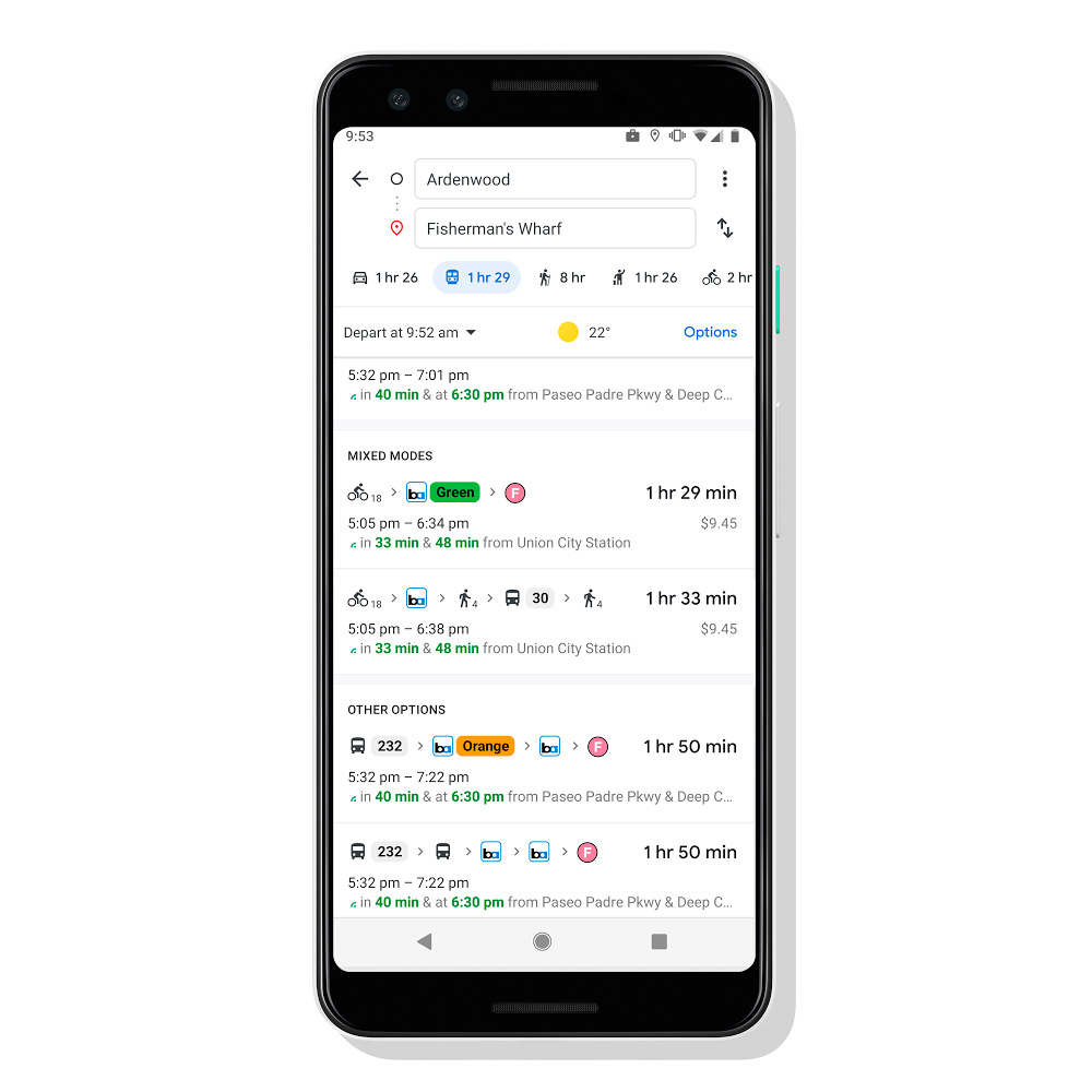 Google Maps kombiniert verschiedene Transportmittel, um Ihnen die beste Route zu bieten
