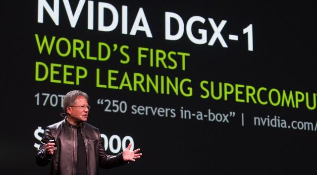 Jen-Hsun Huang von Nvidia kündigt die DGX-1 auf der GTC 2016 an