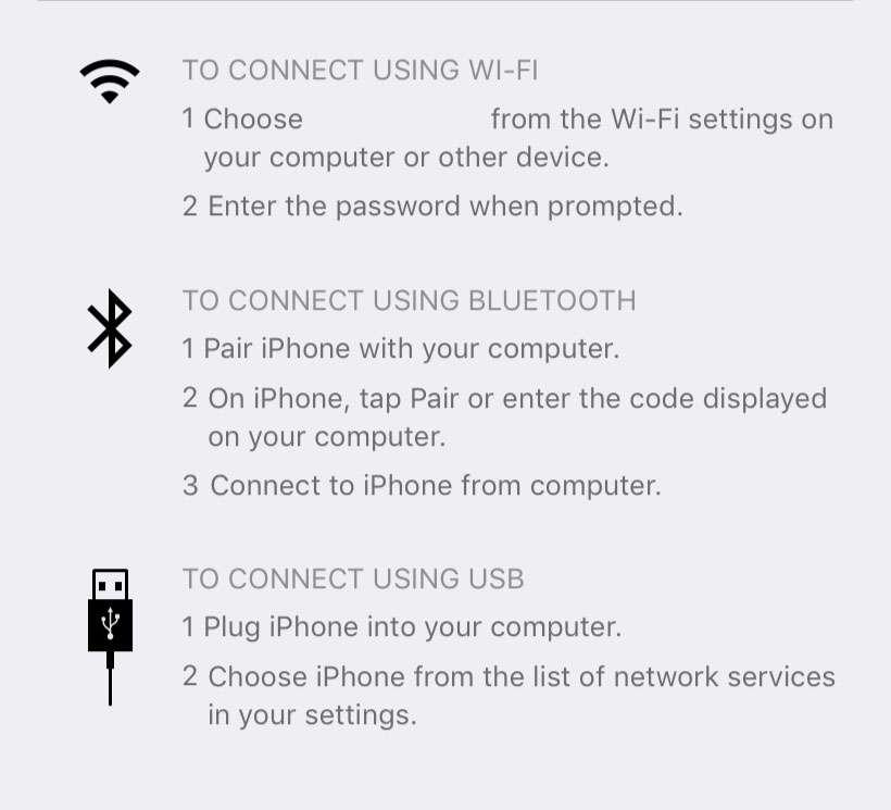 iOS Persönlicher Hotspot