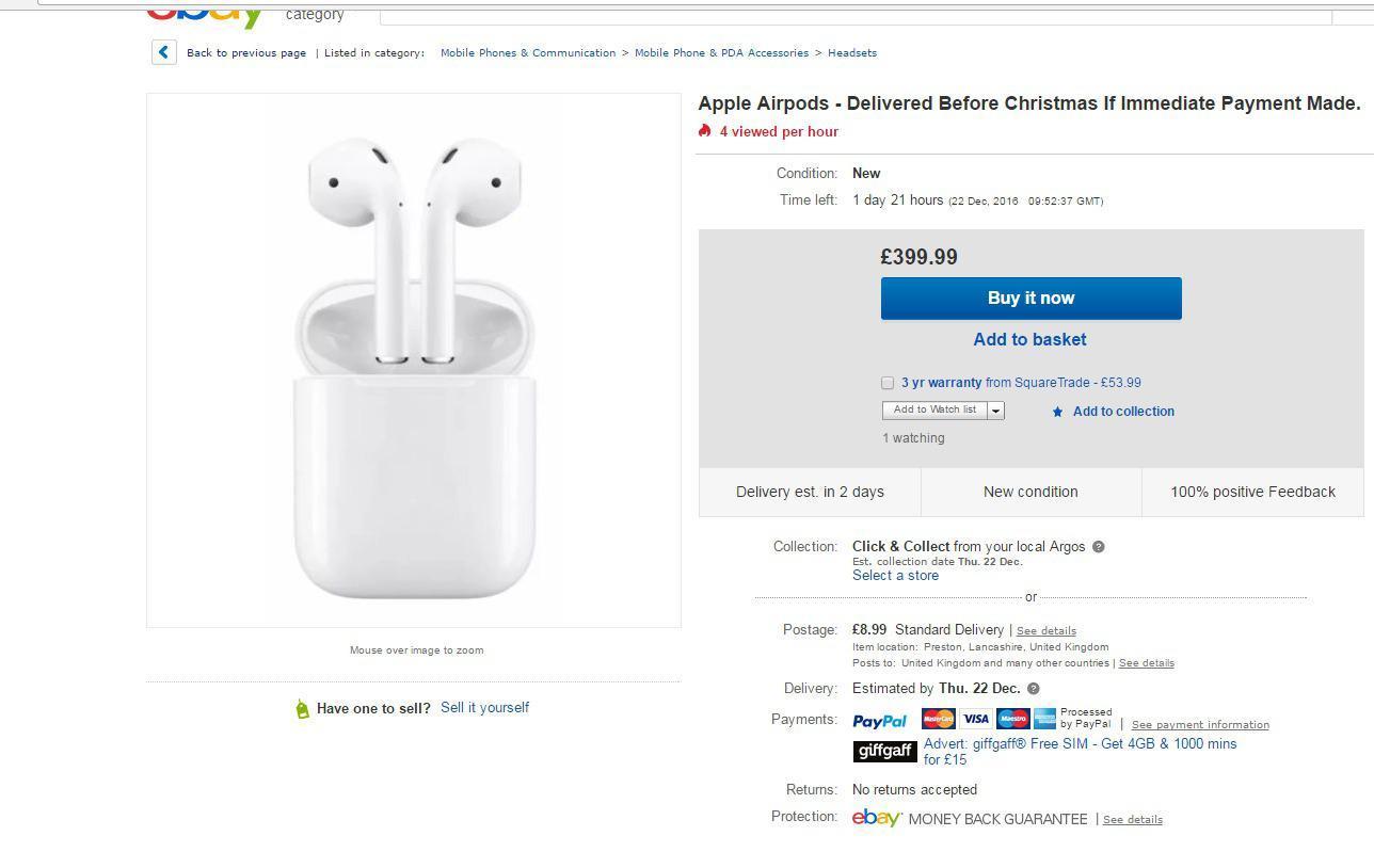Apple  Airpods wurden für mehr als £ 399 bei eBay ausgepeitscht, nachdem sie auf der ganzen Welt ausverkauft waren