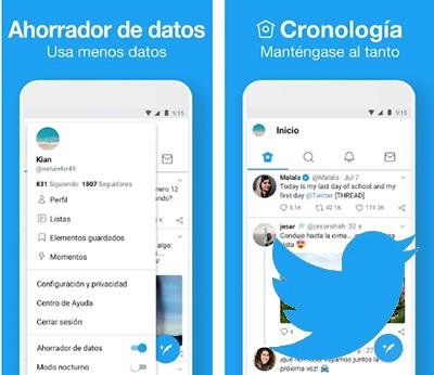 Usa Twitter Lite para teléfonos móviles de poca potencia