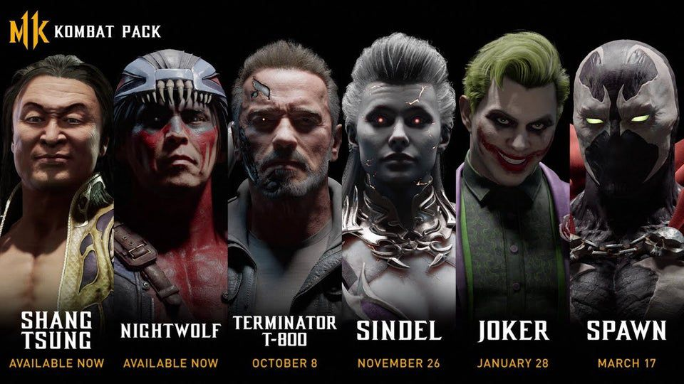 Screenshot der durchgesickerten Miniaturansicht mit den Charakteren und Veröffentlichungsdaten für das Kombat Pack-Verzeichnis in Mortal Kombat 11