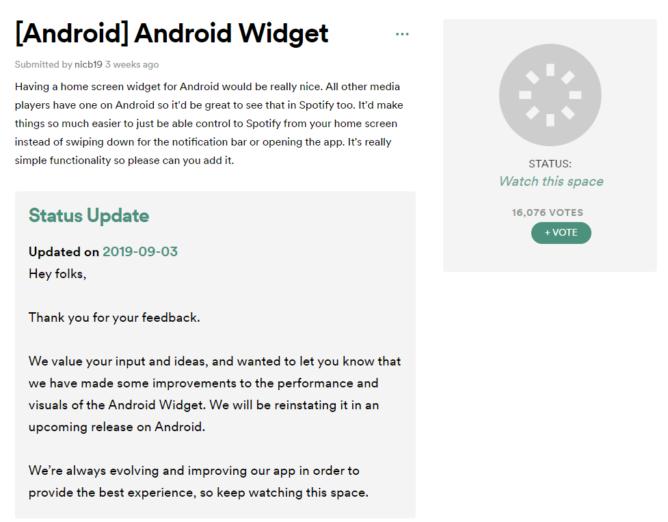 [Update: Back in latest beta] Spotify tötet das Widget in seiner Android-App, aber Sie können abstimmen, um es zurückzubringen (vielleicht) 1
