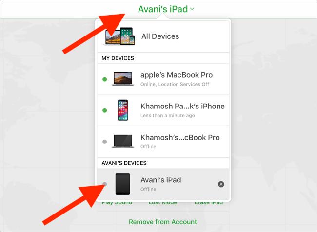 Klicken oder tippen Sie auf die Dropdown-Liste Geräte und wählen Sie Ihr iPad aus.