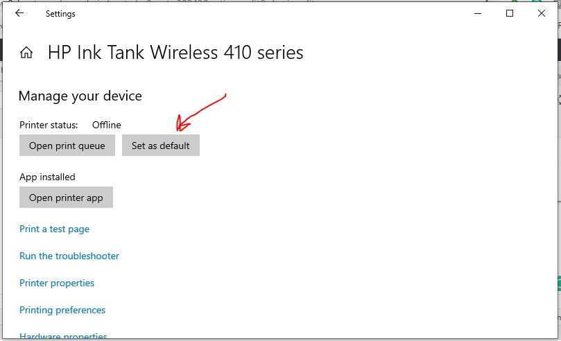 Wählen Sie die Schaltfläche Als deaktiviert festlegen für Windows 10 Drucker