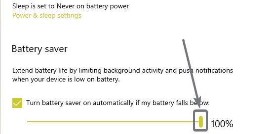 Schalte den Batteriesparmodus automatisch ein, wenn meine Batterie darunter fällt