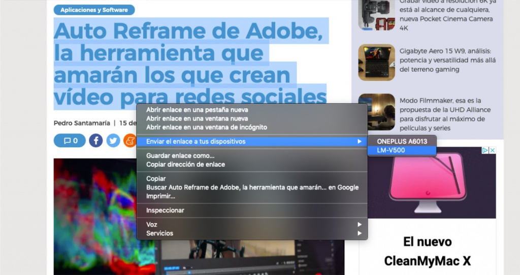 Zwischenablage Share Chrome canary