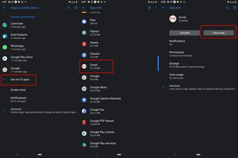 Stop Gmail erzwingen