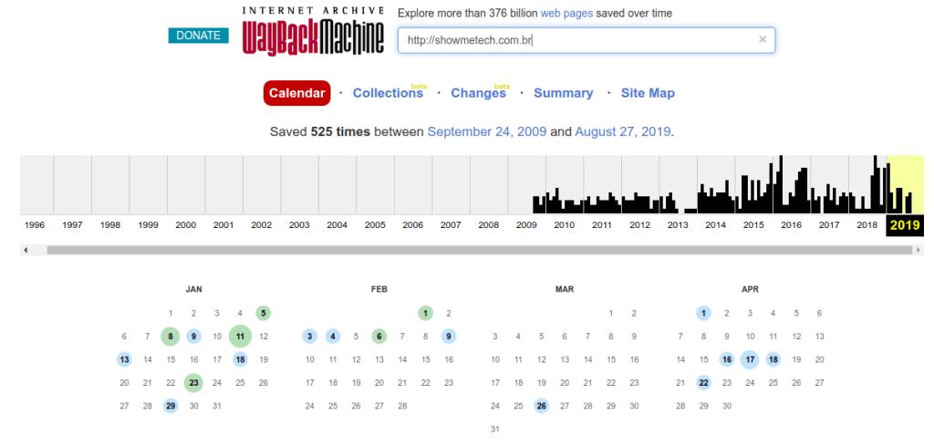 Auf der Site können Sie sogar einen vollständigen Kalender der Site anzeigen, nach der Sie suchen.