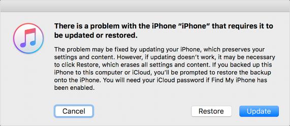IPhone-Problem erfordert Update oder Wiederherstellung