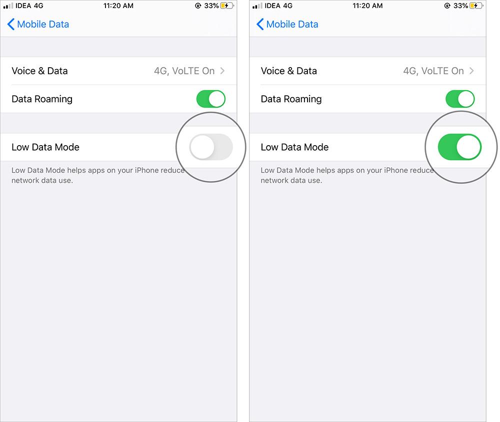 Schalten Sie den Low Data-Modus in iOS 13 auf dem iPhone ein