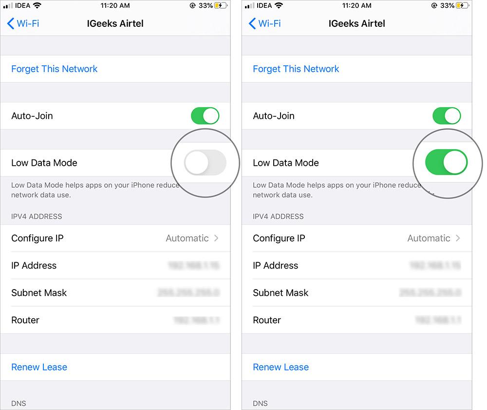 Aktivieren Sie den Low Data-Modus für WiFi in iOS 13