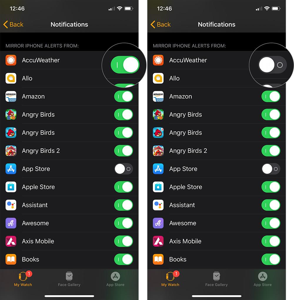 Deaktivieren Sie die Benachrichtigungen für Drittanbieter-Apps Apple Watch