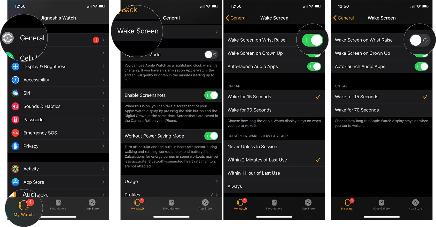 Hör auf einzuschalten Apple Watch Bildschirm, wenn Sie Ihr Handgelenk anheben