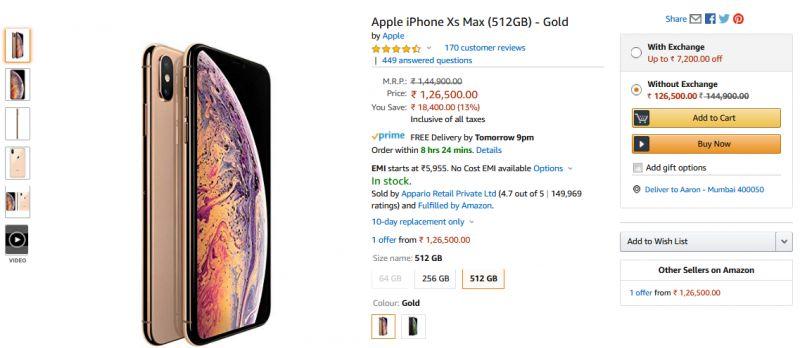 Preissenkung für iPhone XS Max 512GB