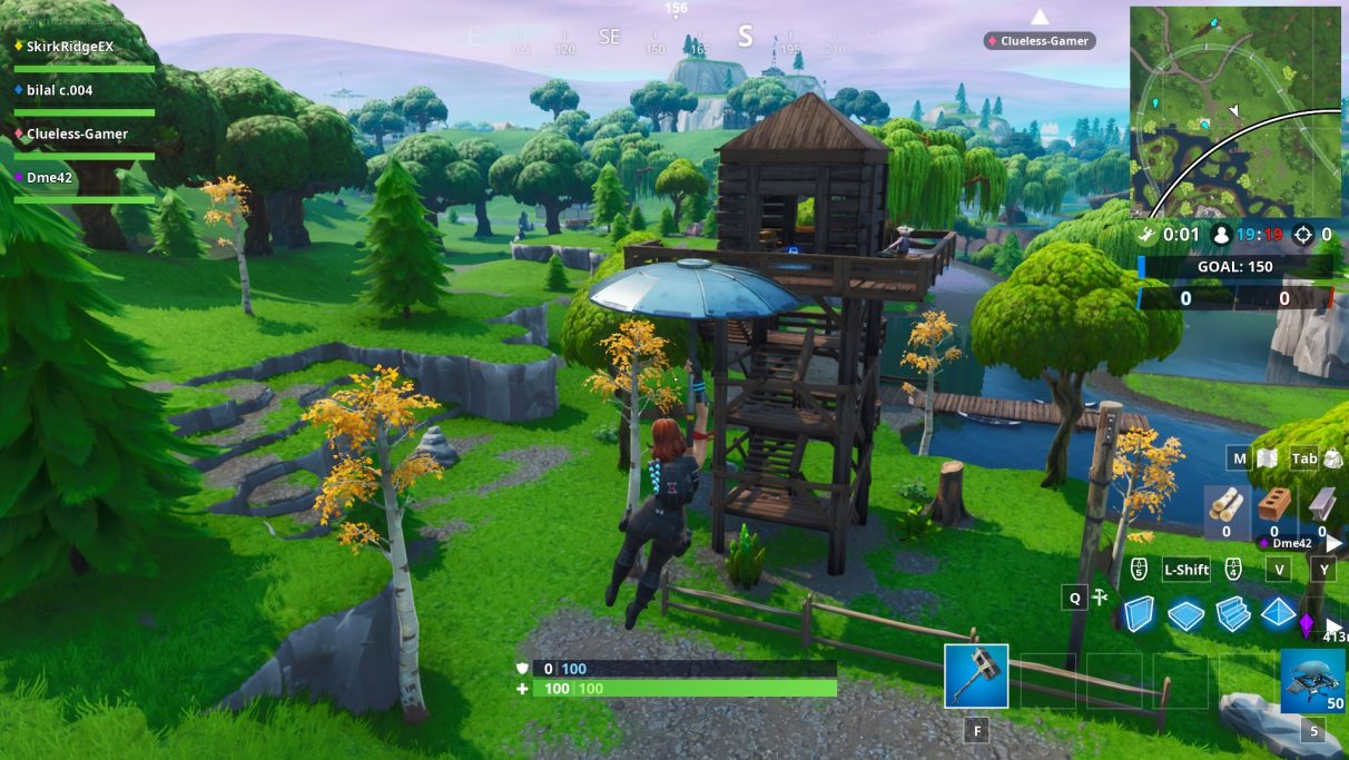 Flying towards the Ranger Tower just by Loot Lake.