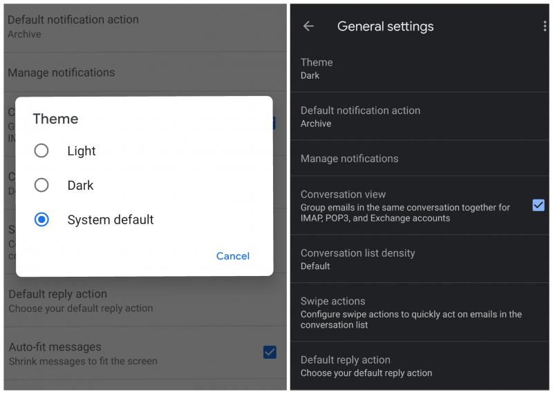Google: Dark Mode für Gmail in Android wird ausliefert