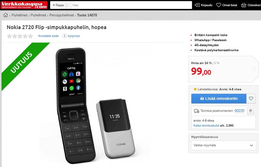 Nokia 2720 Flip und Nokia 800 Tough können bei der finnischen Verkkokauppa vorbestellt werden