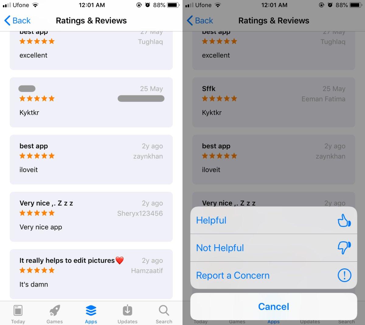 So melden Sie Spam-Bewertungen im App Store unter iOS 1