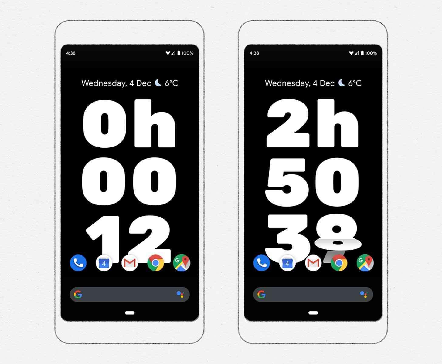 Timer-Bildschirm von Google Digital Wellness Experience