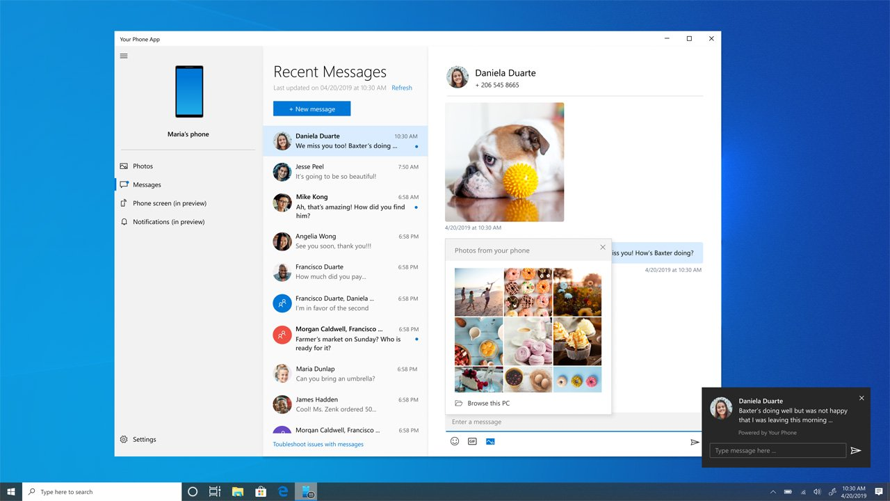 RCS Messaging kommt zu Windows 10 ist Ihre Telefon-App